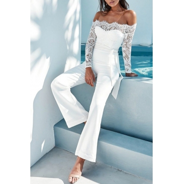 Trendy Dew Shoulder Lace Trim Patchwork White Polyester One-piece Jumpsuits