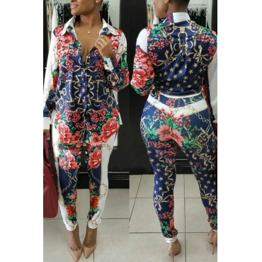 Multi Polyester Pants Print Turndown Collar Long Sleeve Casual Two Pieces