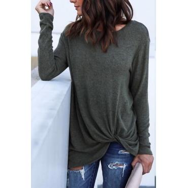 Lovely Leisure Round Neck Asymmetrical Dark Grey Polyester T-shirt