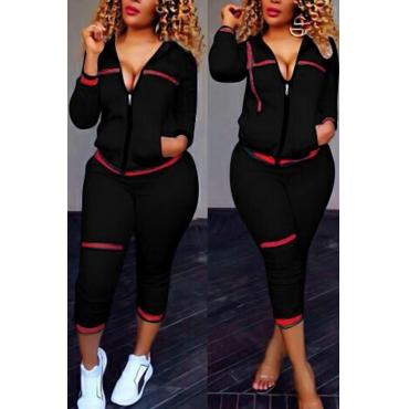 Leisure Turndown Collar Long Sleeves Zipper Design Black Knitting Two-piece Pants Set