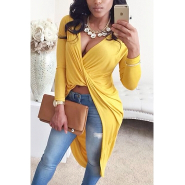 Sexy V Neck Asymmetrical Yellow Blending Shirts