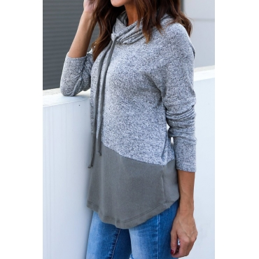 Lovely Leisure Hooded Collar Patchwork Grey Blending Pullovers