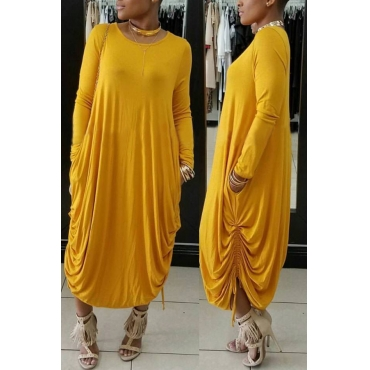 Casual Round Neck Yellow Polyester Mid Calf Dress