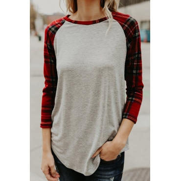 Lovely Euramerican Round Neck Plaid Light Gray Polyester T-shirt