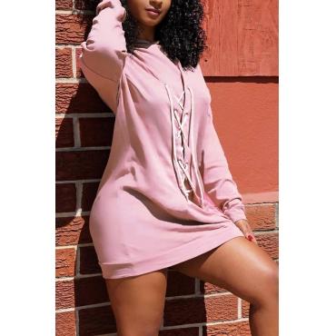 Euramerican Long Sleeves Pink Cotton Blend Mini Dress