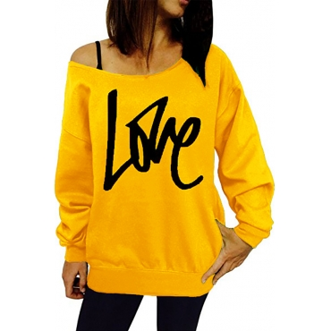 Lovely Leisure Round Neck Long Sleeves Letters Printing Yellow Cotton Pullover