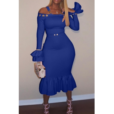 Sexy Bateau Neck Falbala Design Blue Velvet Ankle Length Dress