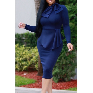 Trendy Round Neck Drape Collage Design Blue Polyester Sheath Mid Calf Dress