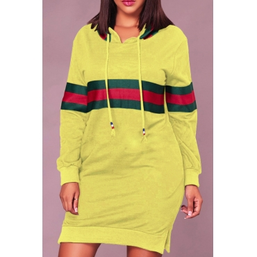 Leisure Hooded Collar Striped Patchwork Yellow Cotton Blend Knee Length Dress