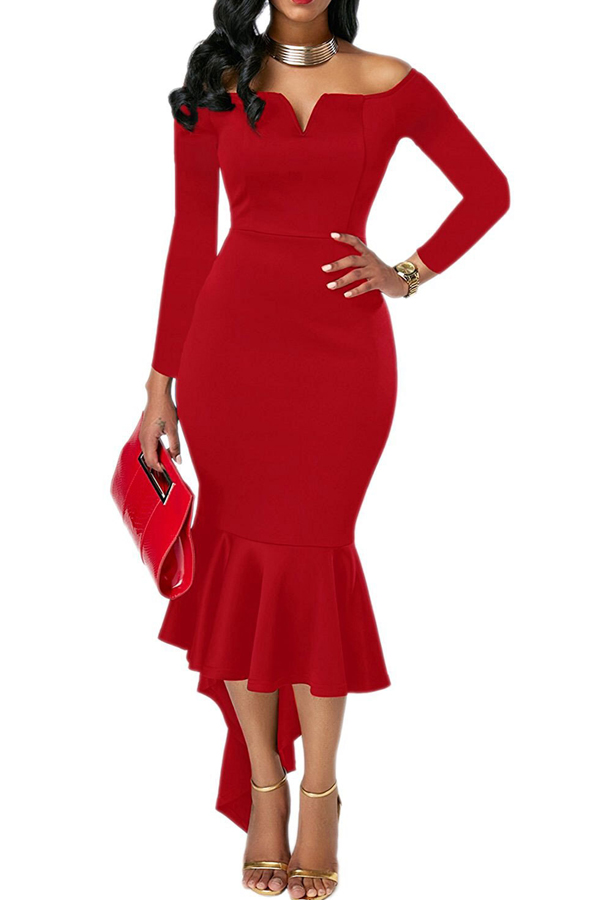 Sexy Bateau Neck Dovetail Shape Design Red Polyester Ankle Length Dress