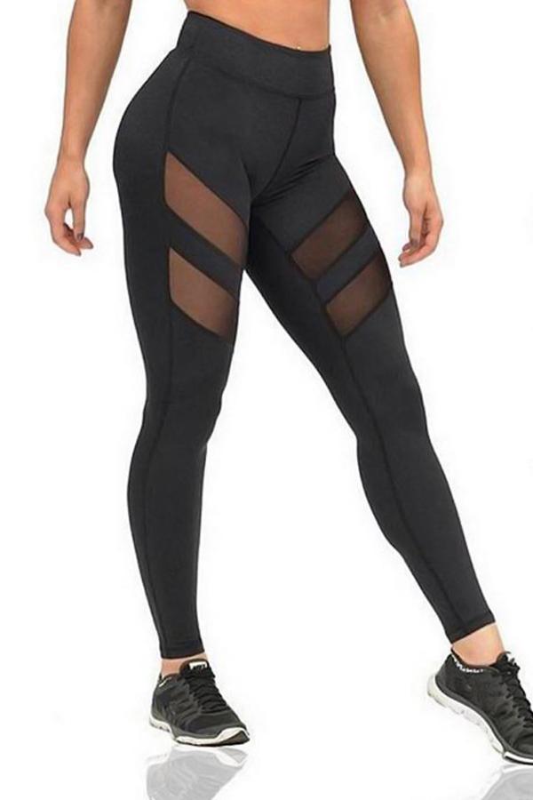 Trendige, Durchsichtige Schwarze Polyester-Leggings Mit Hoher Taille