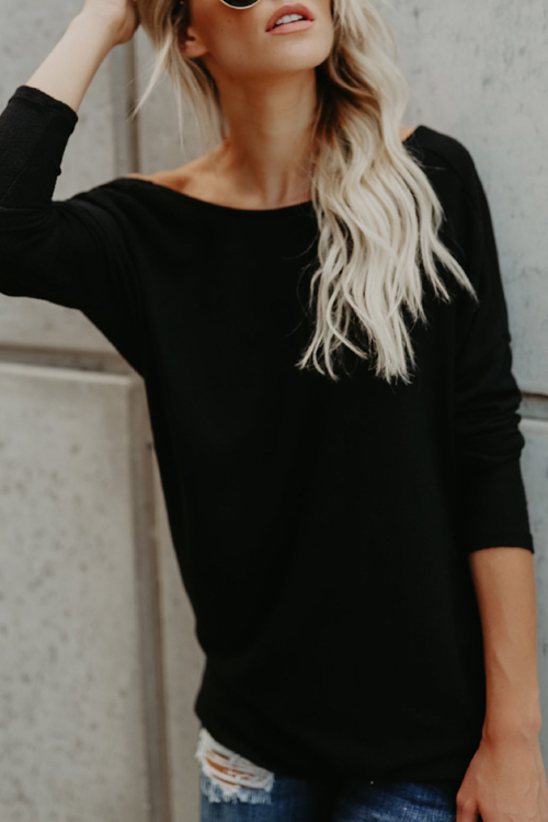 Sexy Round Neck Backless Black Polyester T-shirt