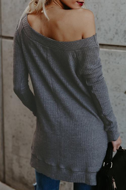 Lovely Fashionable Bateau Neck Dew Shoulder Grey Polyester T-shirt