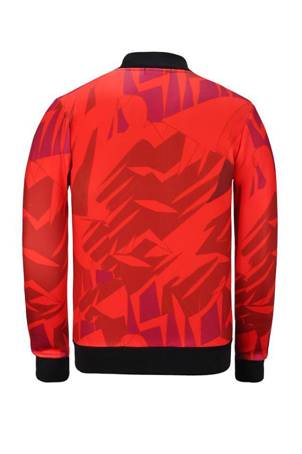 Euramerican Mandarin Collar Printed Red Polyester Jacket