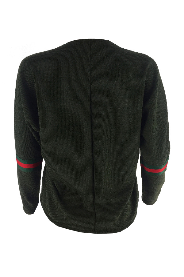Euramerican Round Neck Striped Patchwork Green Polyester Hoodies