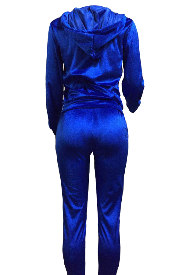 Euramerican Turndown Cuello Cremallera Diseño Profundo Azul Terciopelo Pantalones De Dos Piezas Conjunto