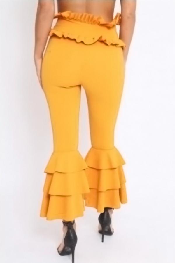 Trendy High Waist Falbala Design Yellow Polyester Pants