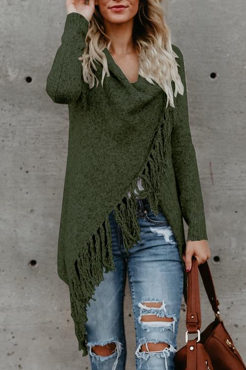Lovely Euramerican Asymmetrical Tassel Design Green Acrylic Sweaters