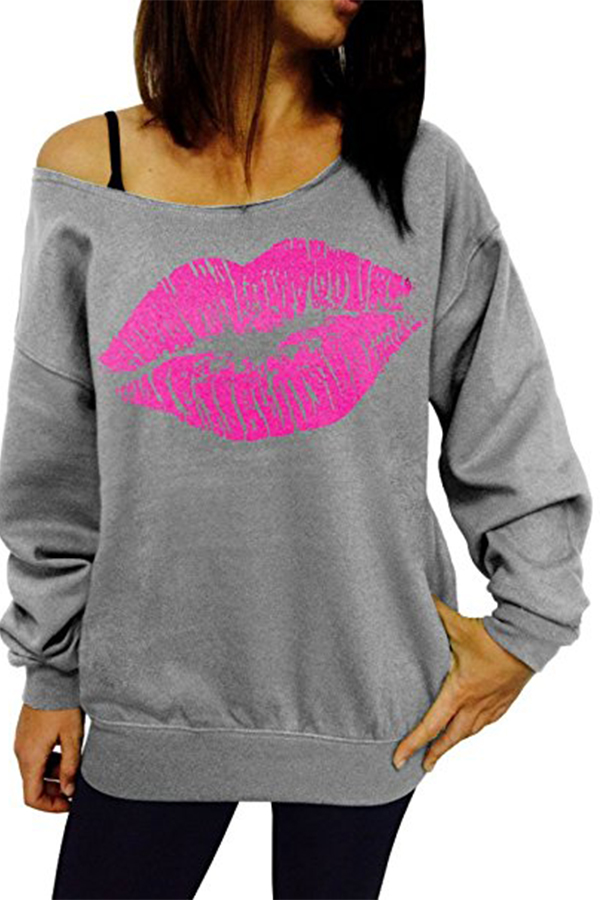 Sexy Dew Shoulder Lips Printed Grey Cotton Blends Hoodies<br>