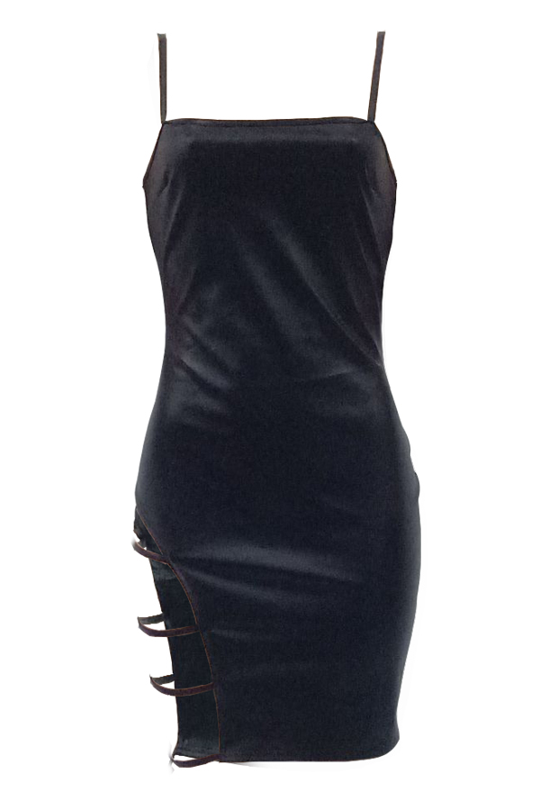 Sexy Vestido Sin Mangas Ahuecado Negro PU Mini