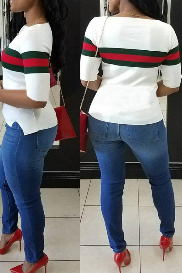 Camiseta Casual De Algodón Blanco Con Cuello Redondo Y Rayas Remiendo