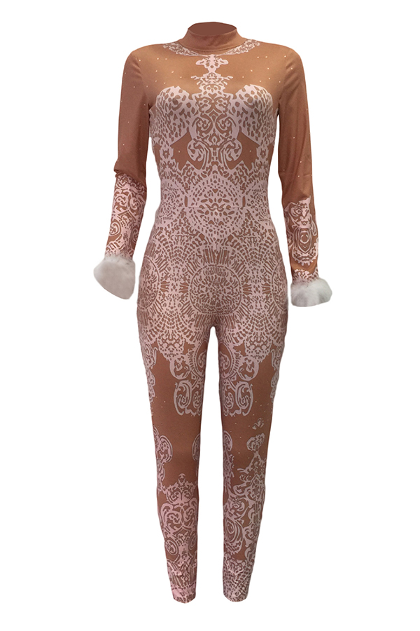 Euramerican Mandarin Collar Printed Polyester One-piece Jumpsuits(Kind Prevail)