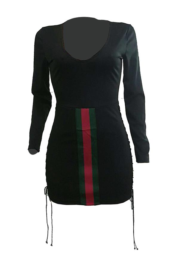 Sexy V Neck Lace-up Hollow-out Black Milk Fiber Mini Dress