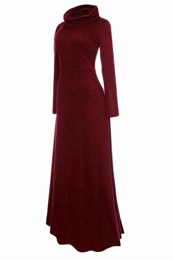 Vestido Casual De Algodón Con Mangas Largas Y Cuello Tobillo Rojo
