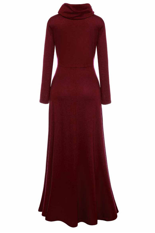 Casual Heaps Collar Long Sleeves Red Cotton Ankle Length Dress