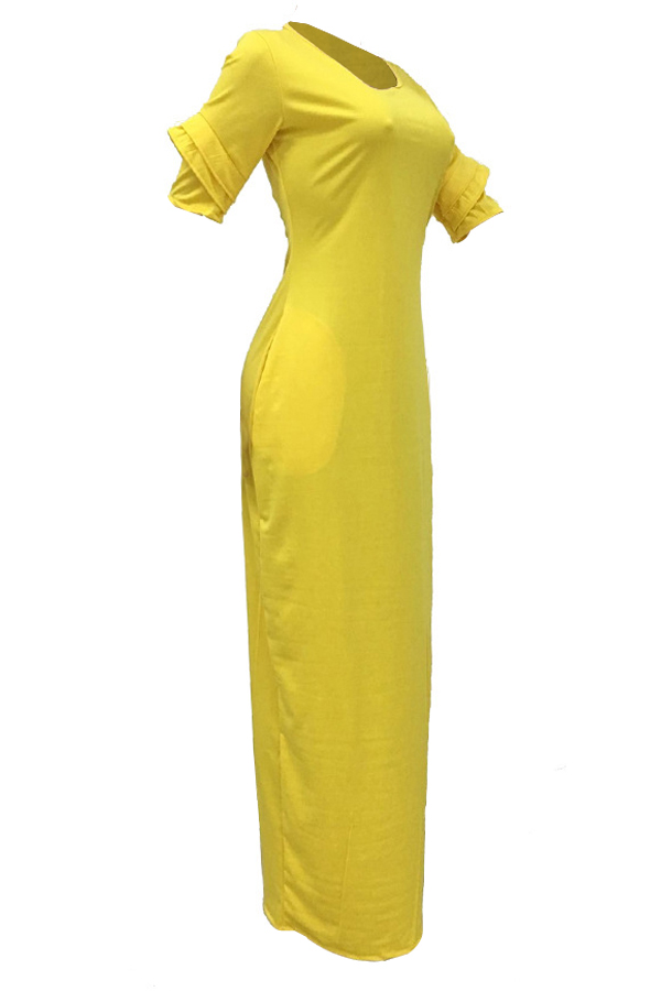Leisure Round Neck Pocket Design Yellow Polyester Floor Length Dress