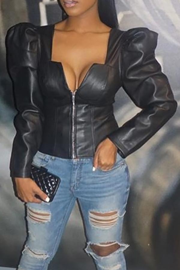 Ретро V Шеи Молния Дизайн Черный PU Пальто