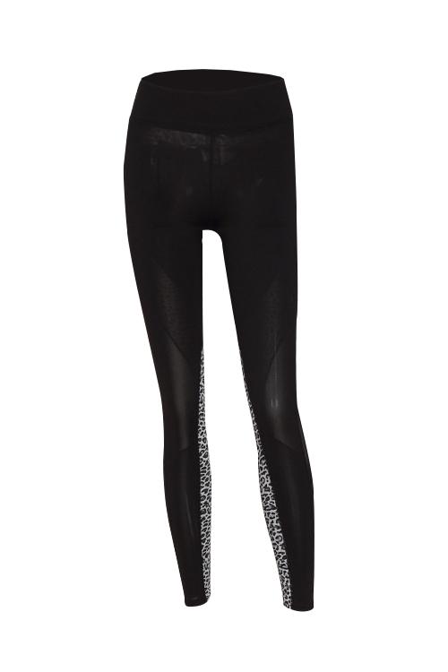 Euramerican Hoher Taillenpantherdruck Schwarze Polyester-Gamaschen