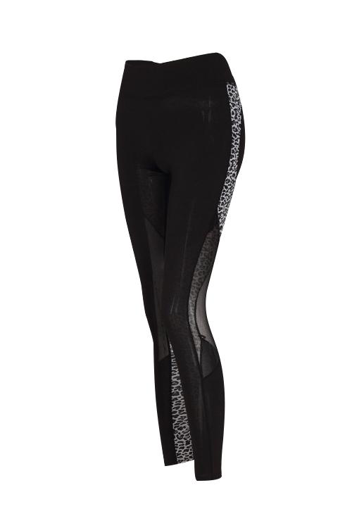 Euramerican High Waist Panther Print Black Polyester Leggings