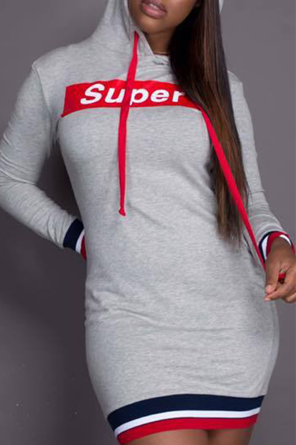 Casual Hooded Collar Letters Printed Grey Polyester Mini Dress