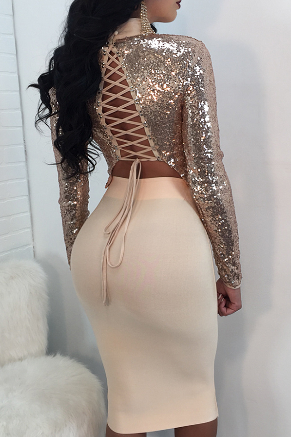 Sexy Mandarin Collar Lace-up Hollow-out Gold Polyester Two-piece Skirt Set(Double Side Wear)