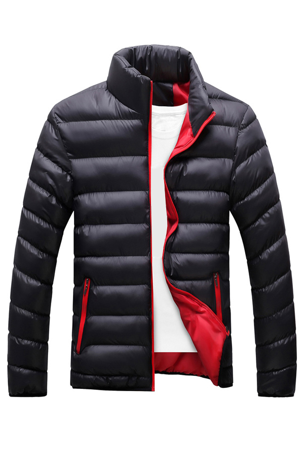 Fashionable Mandarin Collar Long Sleeves Black Cotton Blends Parkas(Without Inner Clothes)<br>