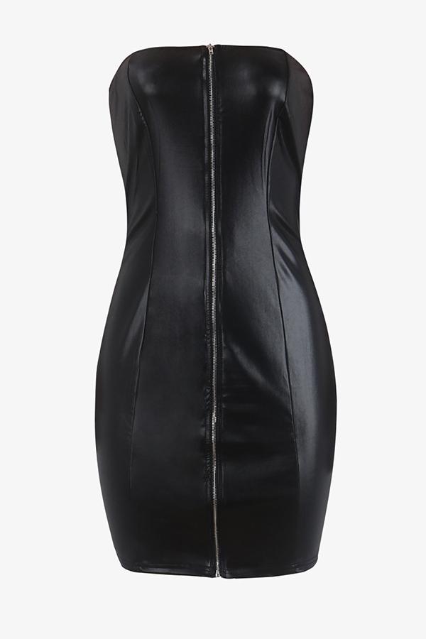 Sexy Bateau Neck Zipper Design Black Polyester Sheath Mini Zipped Dress