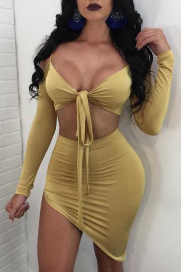 Sexy Dew Shoulder Irregular Hems Yellow Cotton Two-piece Skirt Set<br>