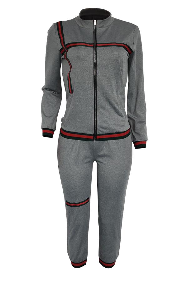 Leisure Turndown Collar Zipper Design Grey Knitting Two-piece Pants Set