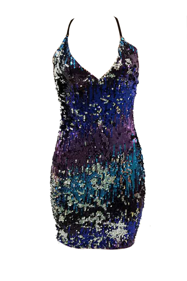 Sexy V Neck Sleeveless Gradient Printed Polyester Mini Dress
