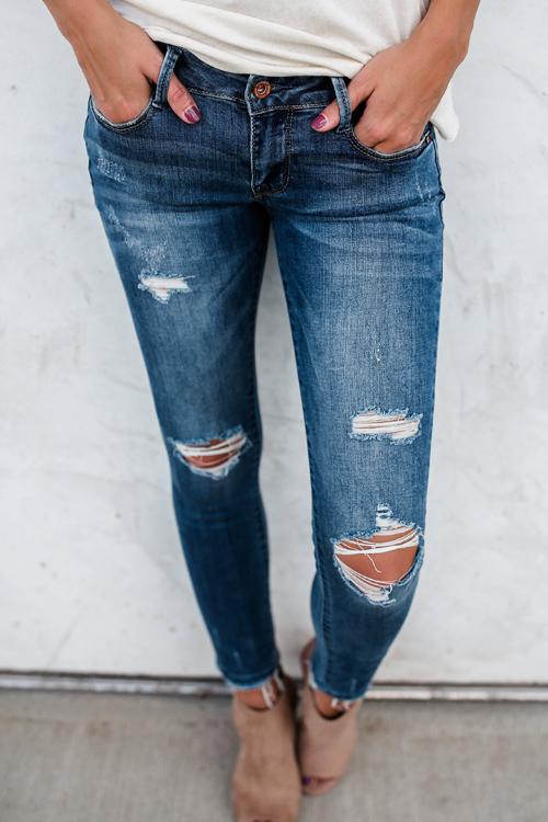 Lovely Stylish Mid Waist Broken Holes Blue Denim Jeans