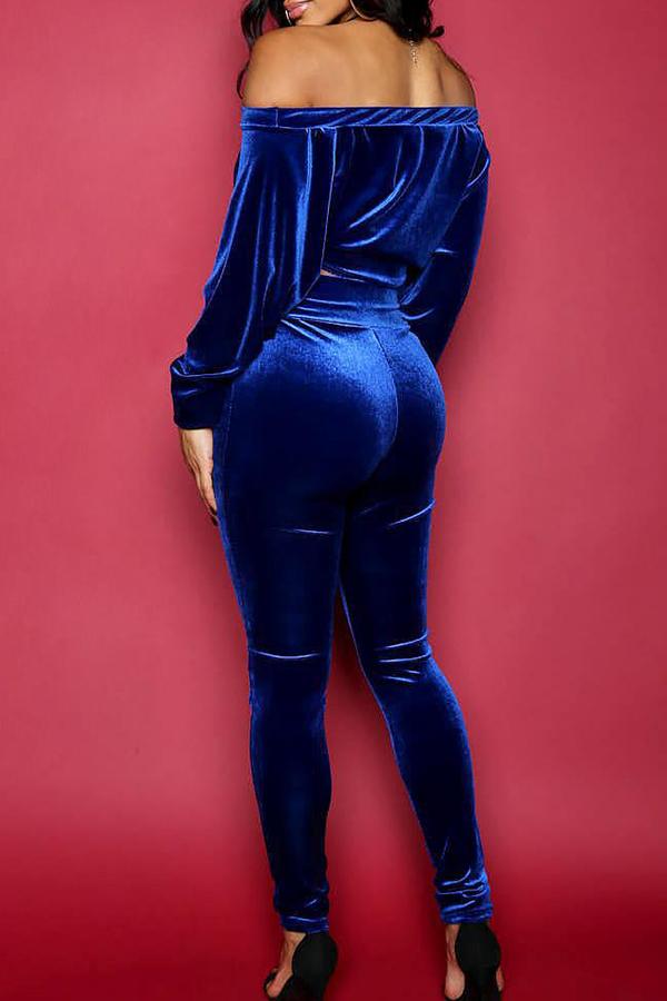 Diseño De Nudo De Cuello Bateau Casual Pantalones De Dos Piezas De Algodón Azul