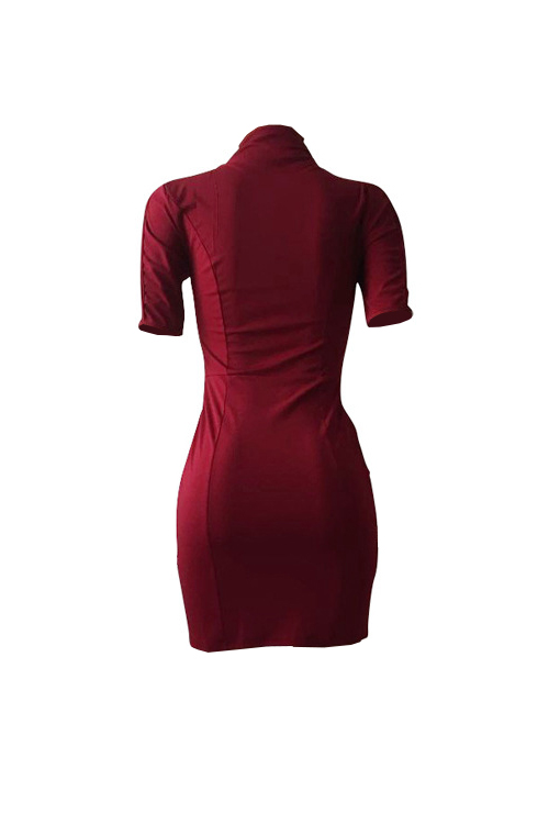 sexy mandarin collar hollow out wine red polyester mini dress dresses lovelywholesale. Black Bedroom Furniture Sets. Home Design Ideas