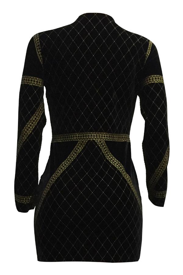 Sexy V Cuello Estampado En Caliente Artesanía Terciopelo Oro Envoltura Mini Vestido