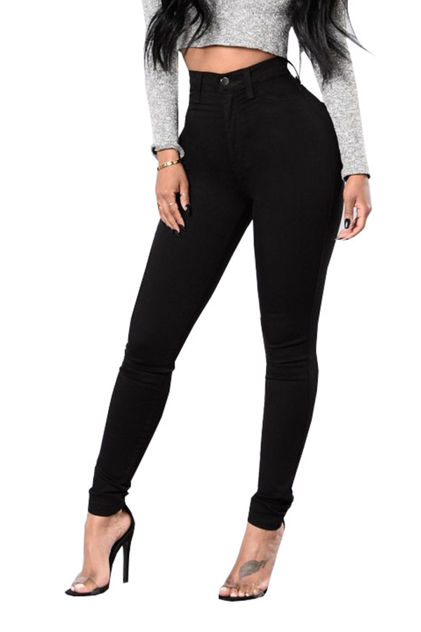 Casual High Waist Zipper Design Black Denim Jeans<br>