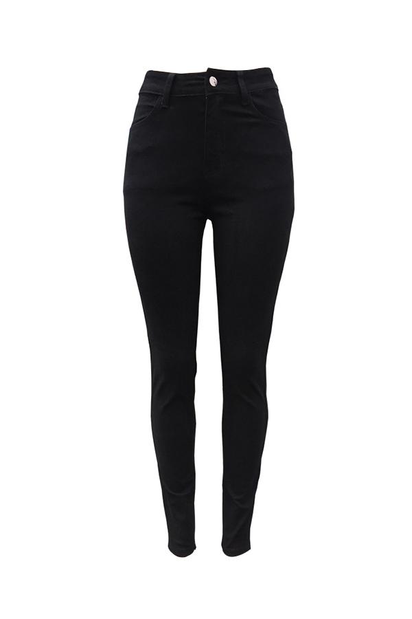 Casual High Waist Zipper Design Black Denim Jeans