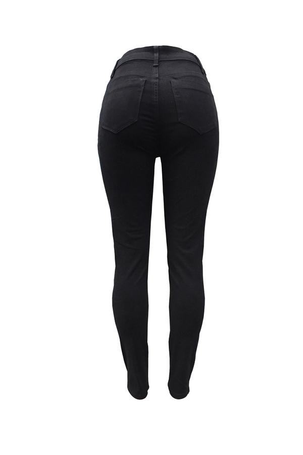 Pantalones Vaqueros Del Dril De Algodón Del Diseño De La Cremallera De Cintura Alta Casual