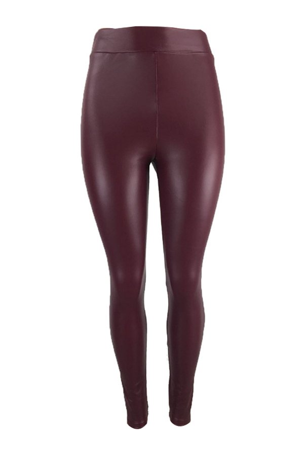 Euramerican High Elastic Waist Wine Red Leather Pants