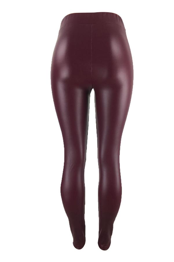 Euramerican High Elastic Waist Wine Red Leather Pants