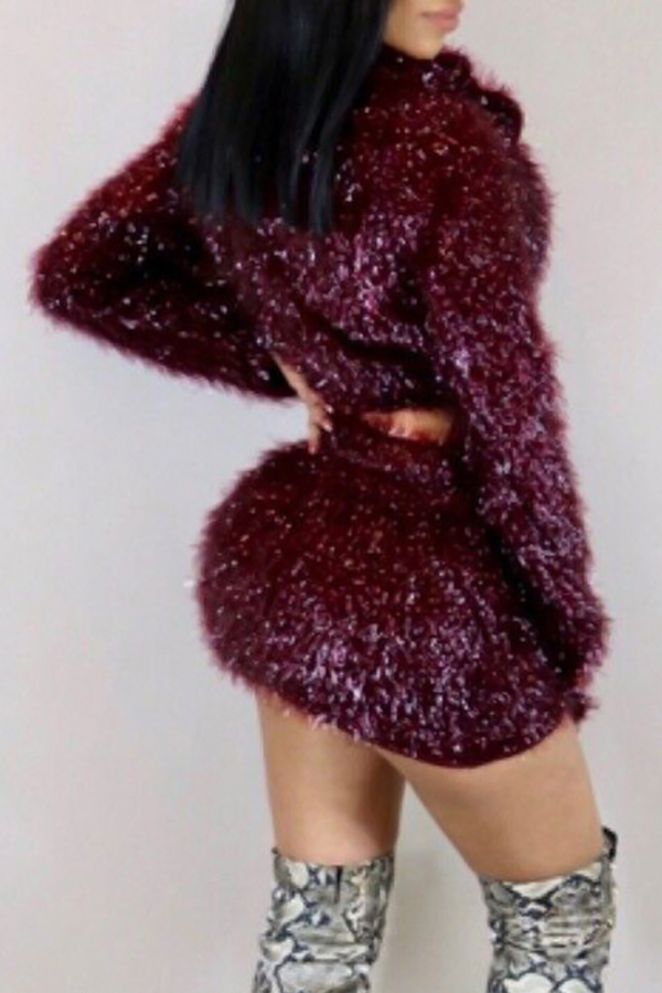 Euramerican Turndown Collar Zipper Design Purplish Red Polyester Two-piece Skirt Set